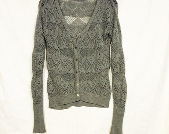 medium grey lace cardigan