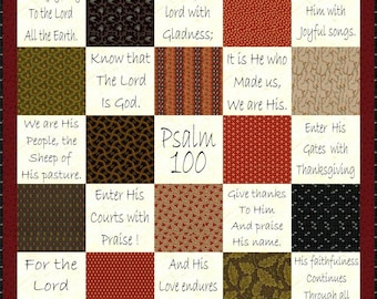 SHOUT JOYFULLY --- Hand Embroidery E-Pattern Psalm 100 Quilt Printable Download Pdf DIY Free Shipping Primitive Black-work Text Scripture