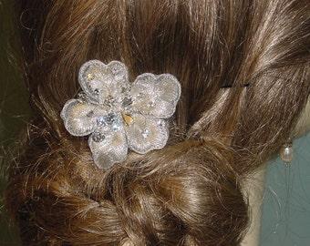 Bridal Hair Comb Silver Embroidered Flower Swarovski Crystal Rhinestones