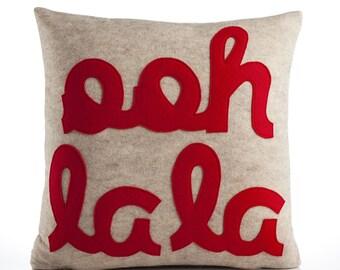 "Decorative Pillow, Throw Pillow, ""Ooh La La"" pillow, 16 inch"