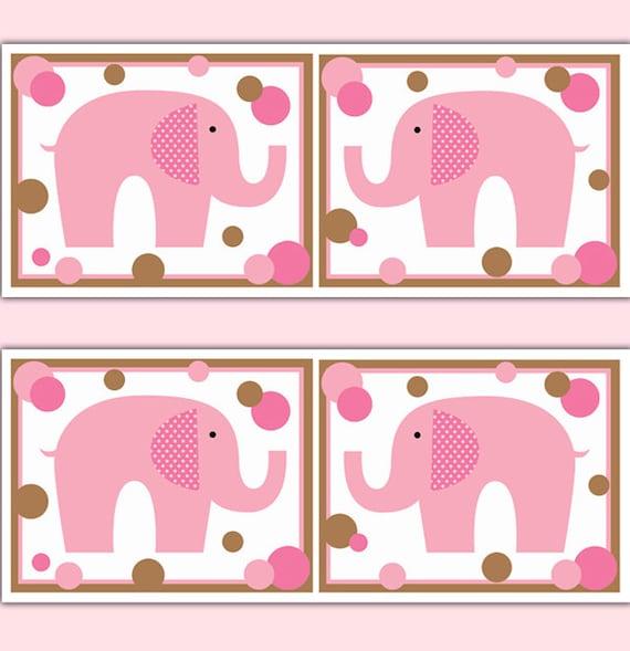 ELEPHANT NURSERY BORDER Decal Girl Wall Art Pink Polka Dot