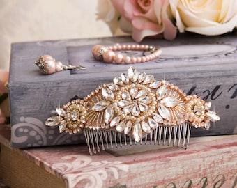 Rose Gold Wedding Hair comb, Rose Gold Bridal Hair comb, Bridal Hair Accessories, Crystal Hair comb, Rhinestone Hair Comb, Bridal Head Piece