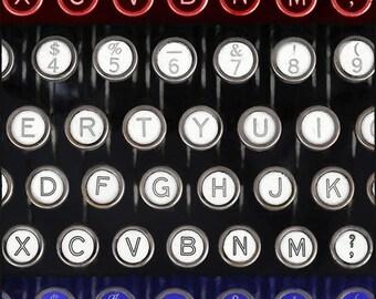 Photographie de la machine à écrire, Art mural panoramique Vertical, photographie de la machine à écrire manuelle, maison ou bureau Decor, Archives impression, rouge blanc bleu