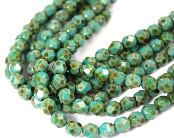 50/pcs Opaque Turquoise Picasso 6mm Faceted Czech Beads