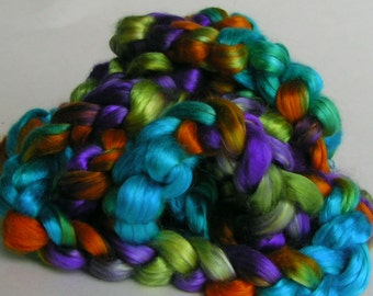 Silk Sliver Top Mulberry Roving Fiber MERMAID Luxurious Phatfiber July Feature Hand Painted for Handspinning 2 ounces