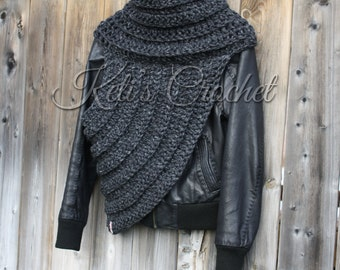 Huntress Cowl,Hunger Games Inspired Cowl,Katniss Inspired Cowl,Cross Body Cowl,Cowl,Crochet Vest,Crochet Scarf,Handmade Gift,Christmas,Scarf