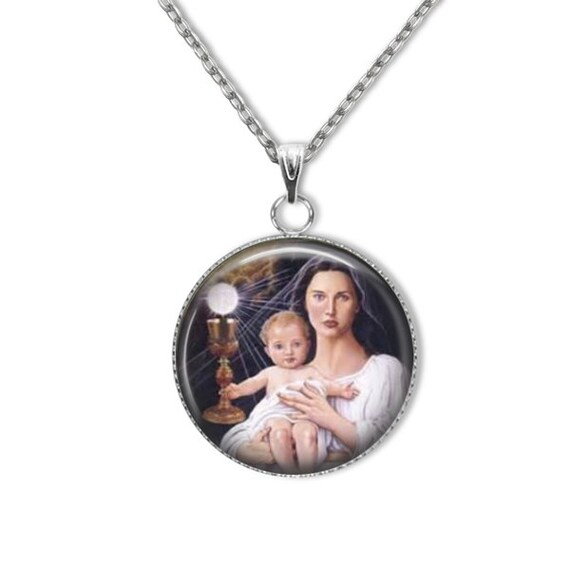 Our Lady of the Blessed Sacrament stainless steel Pendant | 18 or 24 in stainless silver chain
