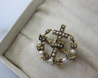 Victorian Pearl Brooch - Seed Pearl Cross and Crown, 14k Gold, Victorian Jewelry, 1900s Fine Estate Jewelry