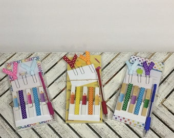 Notepad sets, notepad gift set for teacher, teacher memo pad and clip set, teacher appreciation gift set, set of decorated clothespins clips