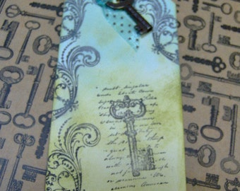 Vintage Paris Style Antiqued Key Themed Gift Tag - With Real Vintage Skeleton Key  - 1 MediumTag