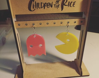 PAC-MAN and Pinky Ghost Statement Earrings