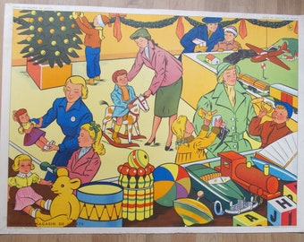 Vintage 1950's school poster: toy store / fire, published by A.Rossignol Montmorillon