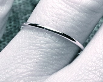 Thin wedding band/ solid 14k WHITE gold/ handmade ring/ full round/ 1.3 mm band/ smooth plain & simple/ 14 karat WHITE gold/ spacer ring