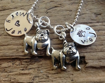 Two AdoraBULL English Bulldogs Personalized Necklace  In Memory Dog Memorial Jewelry