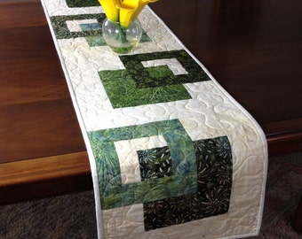 Modern Batik Table Runner, Handmade Green Quilted Tablerunner, Green Cream Wallhanging, Reversible Table Quilt, Contemporary Dining Decor