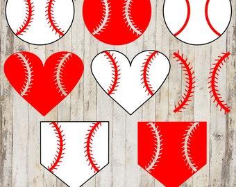 Baseball Ball, Heart, and Base SVG, PNG, and Studio3 files.  Perfect for any baseball project!