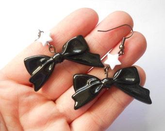 Kawaii Bow Earrings, Black Bow Earrings, Dangle Bow Earrings, Bow Dangle Earrings, Cute Bow Earrings, Big Bow Earrings