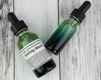 Organic Soothing Muscle Oil •  Bath Oil Concentrate  • Essential Oil Blend • Bath Soak • Joint & Muscle • Cooling Muscle • Soothing •