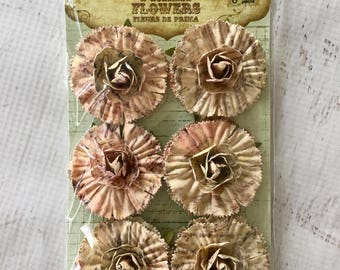 Prima Handmade Flower Embellishments, pkg of 6, for  scrapbooking, card making, mixed media, mini albums, art journaling, papercrafting