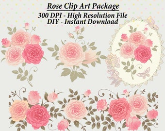 Rose Lace Clipart, Frame Clipart, Lace Clipart, Digital Papers