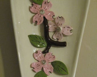 Vintage Ceramic Wall Hanging Plate with Flowers