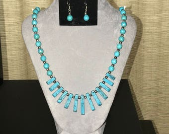 Turquoise and silver fan necklace and earrings