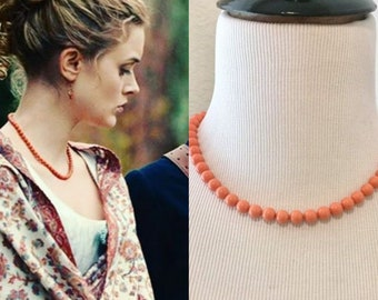 Pride And Prejudice And Zombies Jane Austen Inspired Swarovski Coral Pearl Silver Strand Regency Necklace