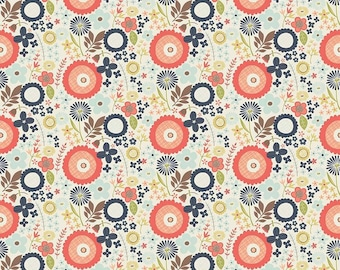 SALE !!! Riley Blake, Woodland Floral Navy, Coral and Navy blender Cotton Woven