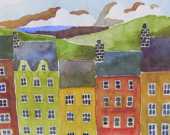 Village by Lake, bright watercolor houses, print of original painting