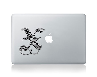 Illuminated Royal Letter X Vinyl Decal for Macbook (13/15) or Laptop