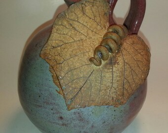 Grape Leaf Oil Lamp with permanent fiber glass wick