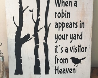 Visitor from heaven Wood sign
