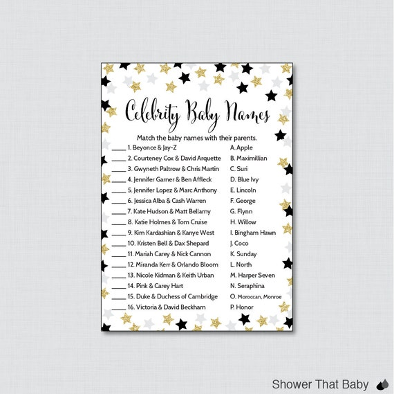 Star Baby Shower Celebrity Baby Name Game Celebrity Baby Name Match Printable Download Twinkle Twinkle Little Star Shower Game  K