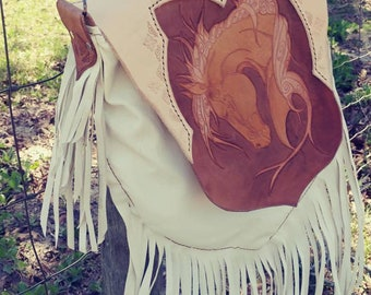 Hand tooled white and brown leather fringed horse cross body or shoulder purse