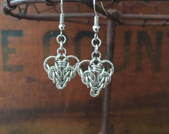 Heart Chainmaille Earrings