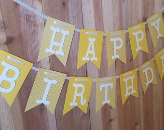 Yellow Polka Dots Happy Birthday Banner, High Chair Banner, One Banner