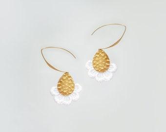 Mother Gift Gold Earrings Statement Earrings Statement Jewelry Dangle Earrings Lace Earrings White Earrings Bridal Earrings/ LILIA