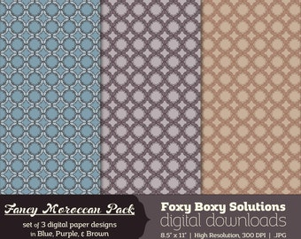 Fancy Moroccan Digital Paper Pack - set of 3 printable digital papers in purple, blue, and brown