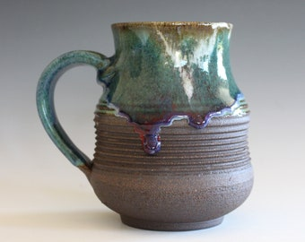 Pottery Coffee Mug, 19 oz, ceramic cup, hand thrown mug, stoneware mug, pottery mug, unique coffee mug, ceramics and pottery