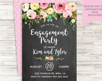 Engagement Party Invite Invitation Digital Chalkboard Floral Watercolor Flowers