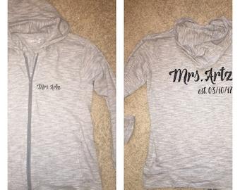 Bridal Party Lightweight Sweatshirts spring wedding flower girl bridesmaid bride hoodies zip up maid of honor