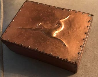 Vintage Copper-Topped Jewelry Box