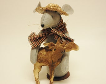 Farmer Mouse with Goat, Handmade Mouse, Handmade Goat, Fabric Mouse, Primitive Mouse, Country Farmhouse, Primitive Animals, Primitive Goats