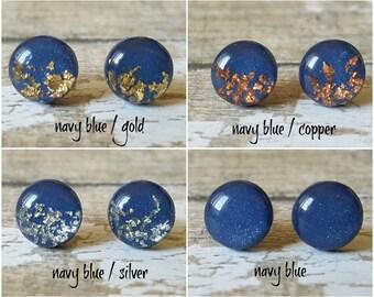 Navy blue stud earrings, Navy and silver earrings copper, Dark blue earrings, Sparkly earrrings, Earrings gift for her, Gold and navy studs