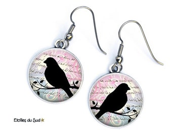 vintage resin cabochon, surgical steel hooks, ref.301 bird earrings