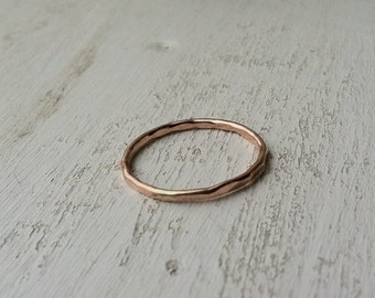 16g / 1.2mm Thick Hammered 14k Rose Gold Fill Stacking Ring - made custom to order - Ready to Ship