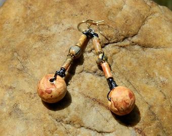 Rustic Stoneware Clay Bead Boho Earrings