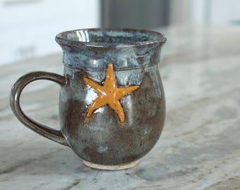Starfish Mug, Handmade Ceramic Mug, Ceramic Coffee Cup, Coffee Cup, Handmade Mug, Handmade Coffee cup, Coffee Mug, Pottery Mug
