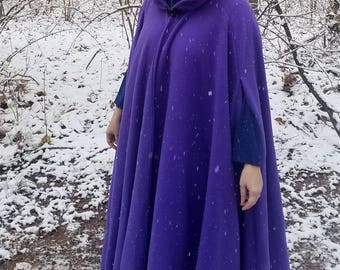 Purple Long Winter Cloak - Full Circle Fleece Medieval Renaissance Hooded Cloak - Costume Cape with hood