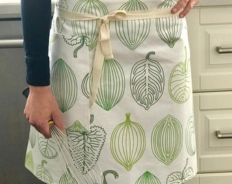 Half apron, cotton apron, green apron
